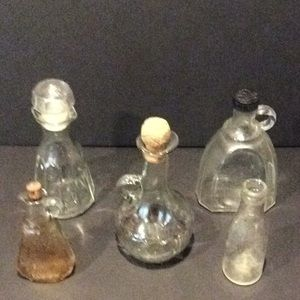 5 Old Bottles Vinegar Oil Useful and Decoration